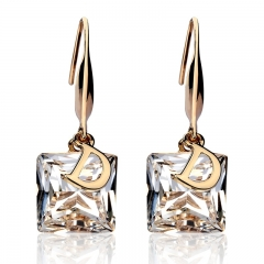 New Fashion Square Crystal Letter D Stud Earrings For Women Unique Elegant Noble Earring Jewelry White One size