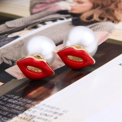 The new style Hot  sell earrings Alloy 100 fashion ear nail accessories. Whit and Red one size