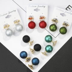 Hot Sell fashion style earrings Snowflake Crystal  Personality frosted ball earrings. Red one size