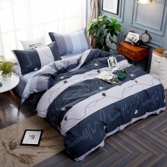 100%Polyester 4pcs Duvet Cover Sheet Bed Linen Bedclothes Pillowcase Gentleman Gray Grid 5*6 grey king 3pcs