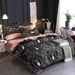 100% polyester fiber brief luxurious 4pcs / 3pcs bedding set home Textiles black king 3pcs