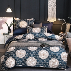 100% polyester fiber brief luxurious 4pcs / 3pcs bedding set home Textiles blue queen 4pcs