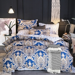 100% polyester fiber brief luxurious 4pcs / 3pcs bedding set home Textiles blue queen 4pcs