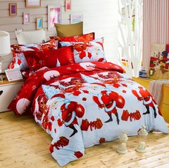 3D 3PCS Christmas bedding set with 100% polyester fiber Christmas gift red king