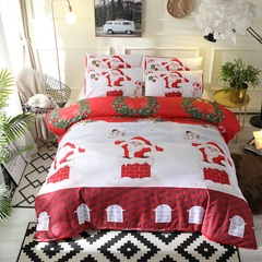 3D 3PCS bedding set 100% polyester cartoon Christmas home textile red king