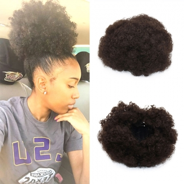 Synthetic Curly Hair Ponytail Short Afro Wrap Drawstring Puff Extensions 2