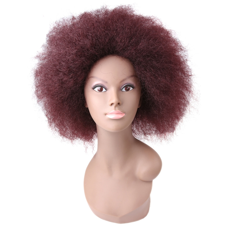 Synthetic Short Kinky Straight Curly Afro Wig Fluffy Lace Front Wigs ... 70bb3cb0eb63