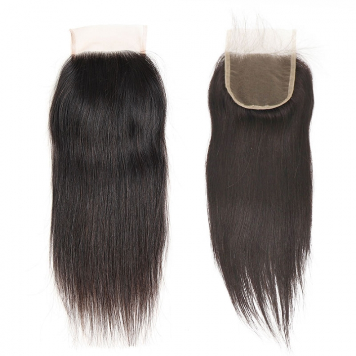 Human Hair 4x4 Brazilian Lace Closure Straight Unprocessed  with Baby Hair Free Part natural black 8 inch