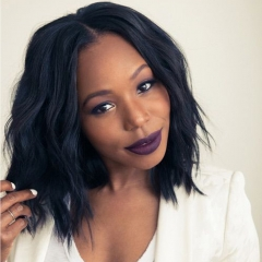 Synthetic Lace Front Wigs Short Wavy Bob With Baby Hair For Black Women  with Free Cap #1B 22.5 Inch