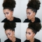 Synthetic Curly Hair Ponytail Short Afro Kinky Curly Wrap Drawstring Puff Ponytail Hair Extensions #1 one size