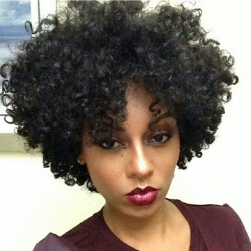 Kinky Curly Short Black African American Wigs Synthetic Hair For Black Women #1b 11 inch