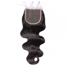 Brazilian Virgin Human Hair Body Wave Lace Closure  Free Part 4