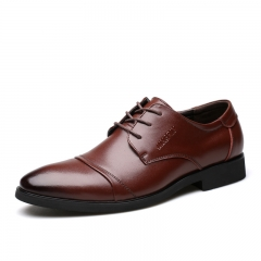 Fashion Shoes Genuine Leather Men Dress Shoes Luxury Men's Business Casual Classic Gentleman Shoes brown 40