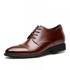 Brand Luxury Genuine Leather Men Formal Shoes Pointed Toe Top Cow Leather Oxford Men Dress Shoes brown 40