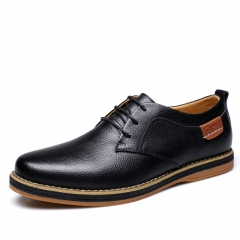 Leather Casual Men Shoes Fashion Men Flats Round Toe Comfortable Office Men Dress Shoes blue 40