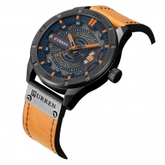 CURREN 8301 Top Brand Luxury watch men date display Leather creative Quartz Wrist Watches orange one size