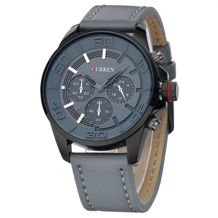 brand design business men clock casual leather luxury wrist quartz army sport watch 8187 blue one size