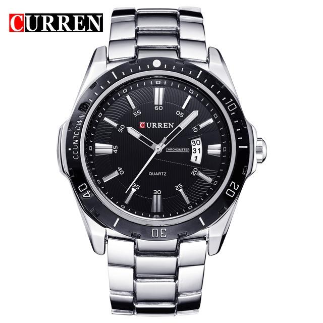 CURREN 8110 watches men Top Brand fashion watch quartz watch male men Army sports Analog Casual silver one size