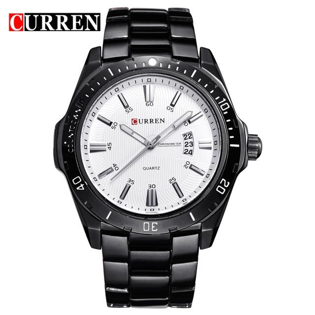 CURREN 8110 watches men Top Brand fashion watch quartz watch male men Army sports Analog Casual silver black one size
