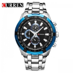 CURREN Watches Men quartz Top Brand Analog Military male Watches Men Sports army Watch Waterproof blue one size
