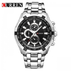 CURREN Watches Men quartz Top Brand Analog Military male Watches Men Sports army Watch Waterproof silver one size