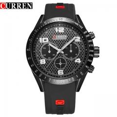 Curren Genuine Rubber Strap Analog Display Date Men's Quartz Watch Casual Watch Men 8167 black one size