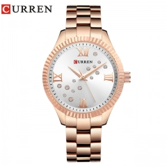 CURREN  Watch Women Ladies Quartz Watches Crystal Design Wristwatch 9009 white