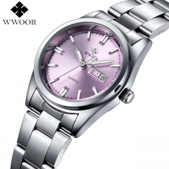 WWOOR New Brand Relogio Feminino Date Day Clock Female Stainless Steel Watch Ladies Fashion Pink