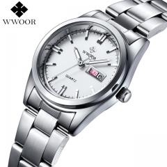 WWOOR New Brand Relogio Feminino Date Day Clock Female Stainless Steel Watch Ladies Fashion white