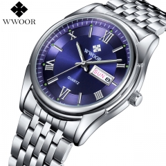 WWOOR  Watches Luxury Brand Day Date Luminous Hour Clock Silver Steel Strap Casual Quartz Watch Men blue one size