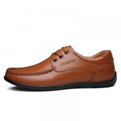 Fashion Oxford Business Men Shoes Leather High Quality Soft Casual Breathable Men's Flats Shoes brown 38