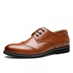 Spring Fashion Business Men Shoes Leather High Quality Soft Casual Breathable Men's Flats Shoes brown 38