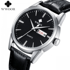 WWOOR Brand Luxury Men's Watch Date Day Genuine Leather Strap Sport Watches Male Casual Quartz black one size