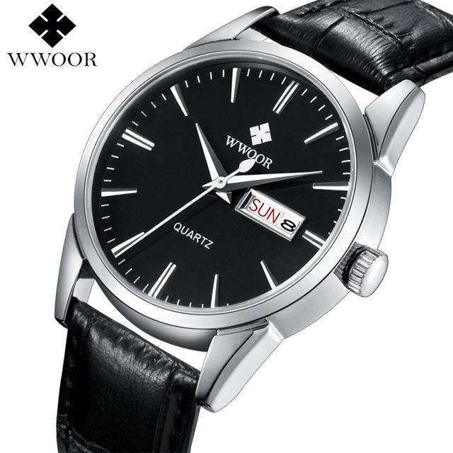 WWOOR Brand Luxury Men's Watch Date Day Genuine Leather Strap Sport Watches Male Casual Quartz black one size