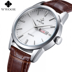 WWOOR Brand Luxury Men's Watch Date Day Genuine Leather Strap Sport Watches Male Casual Quartz brown one size