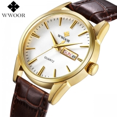WWOOR Brand Luxury Men's Watch Date Day Genuine Leather Strap Sport Watches Male Casual Quartz silver one size