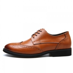 Fashion Oxford Business Men Shoes Leather Soft Casual Breathable Men's Flats Shoes 36001 brown 38