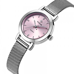 WWOOR Ladies Quartz Watch Women Watches Female Stainless Steel Bracelet Wrist Watch Silver Clock pink