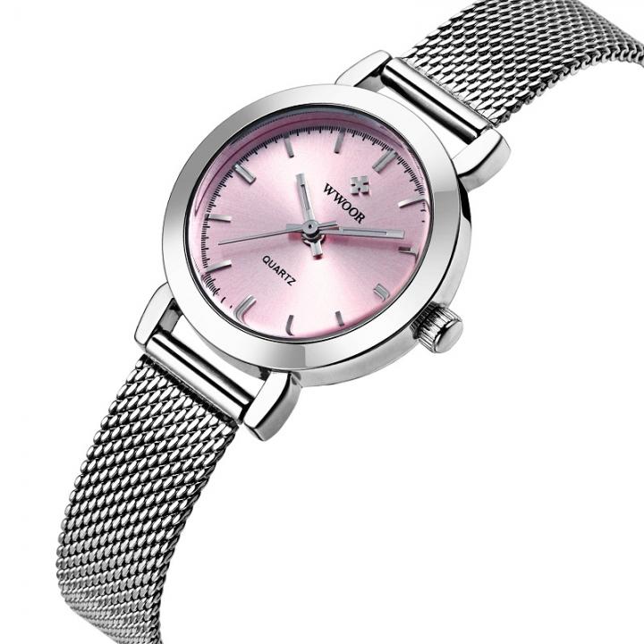 WWOOR Ladies Quartz Watch Women Watches Female Stainless Steel Bracelet Wrist Watch Silver Clock pink