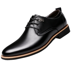 Fashion Oxford Business Shoes Leather High Quality Soft Casual Breathable Men's Flats Shoes 36096 black 38