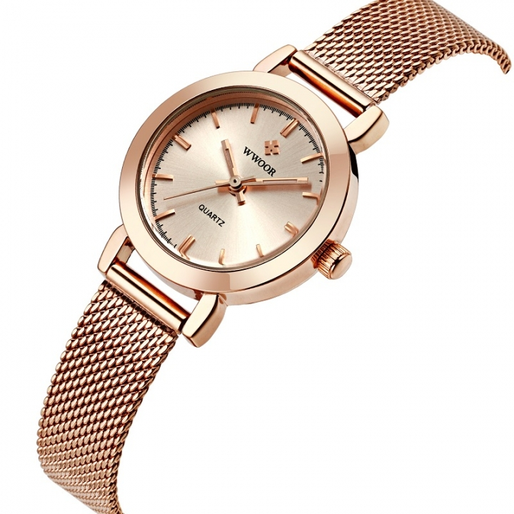 WWOOR Ladies Quartz Watch Women Watches Female Stainless Steel Bracelet Wrist Watch Silver Clock rose gold