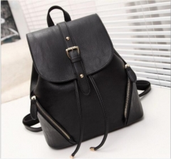 The new bag backpack, travel bag lady wind Korean fashion leather female bag black one size