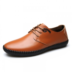 Luxury Brand Men's Shoes Genuine Leather Oxford Black Brown Classic Gentleman Fashion Shoes 26489 brown 38
