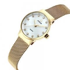Women Quartz Rose Gold Watch Women Luxury Waterproof Creative Clock Ladies Stainless Steel Watch gold