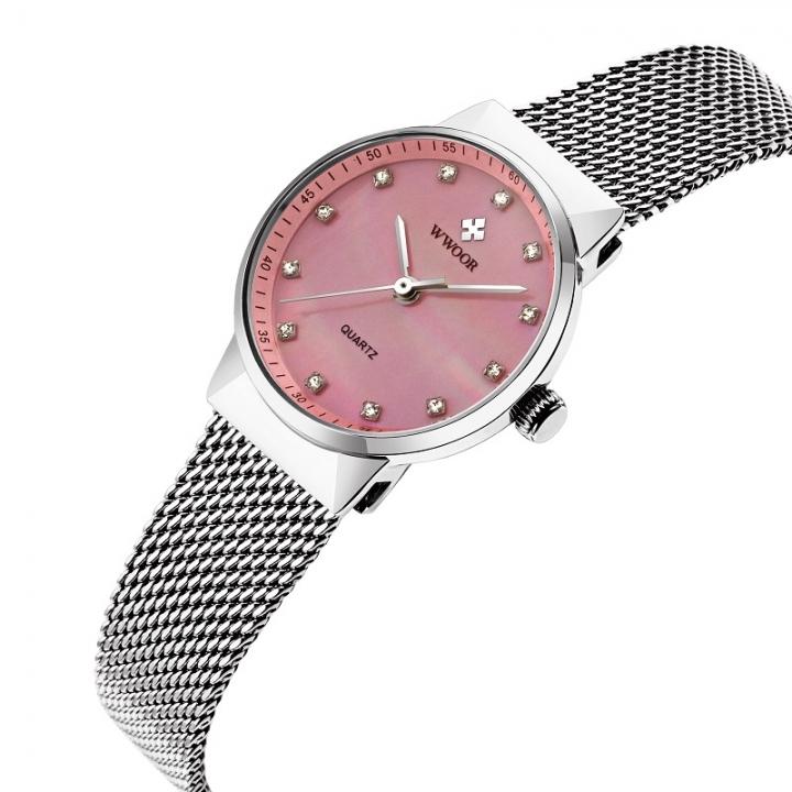 Women Quartz Rose Gold Watch Women Luxury Waterproof Creative Clock Ladies Stainless Steel Watch pink