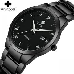 Luxury Men Stainless Steel Waterproof Sports Watches Men's Quartz Analog Date Clock Male Black Watch black one size