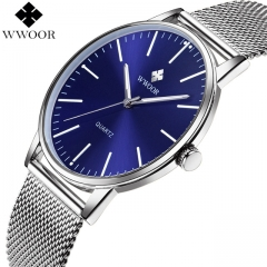 Luxury Men's Ultra Thin Quartz Watch Waterproof Stainless Steel Sport Watch Male Blue Analog Clock blue one size