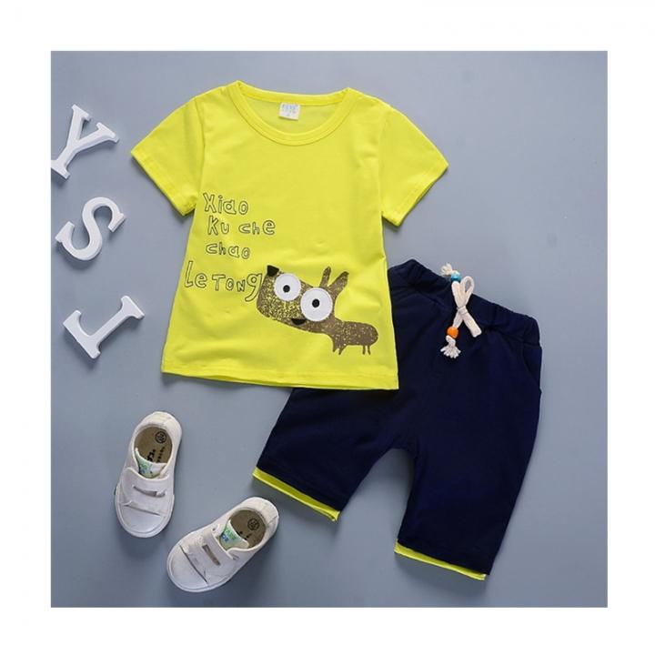 QIHU Kids Fashion Children Boys T shirts Cotton Tees Cartoon Micky style Girls Clothes Kid T-Shirt yellow 90cm