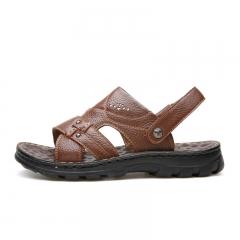 Sawol Sandals Split Leather Men Beach Sandals Casual Flip Flops Men Slippers Sneakers Summer 10489 brown 38