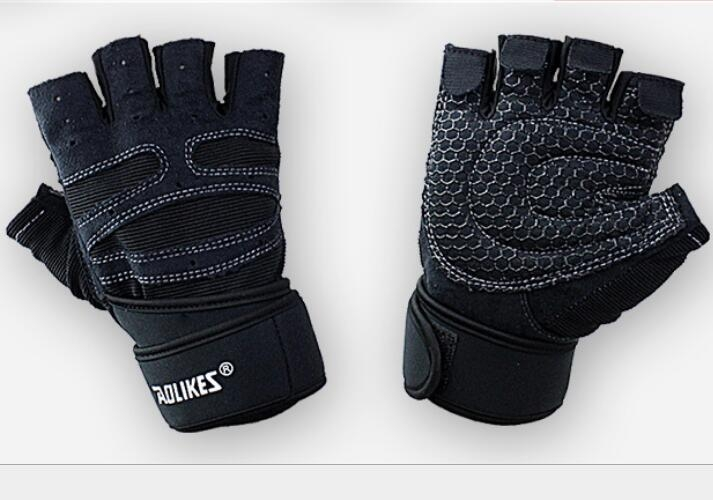 Dumbbell exercise weight lifting semi finger gloves gray l